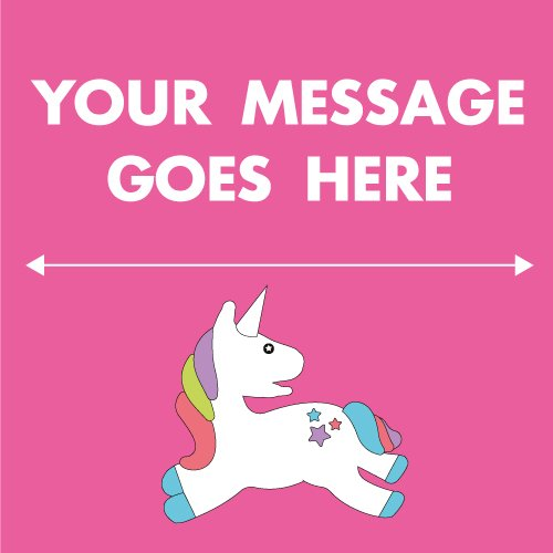 Pink Unicorn 2ft x 2ft Personalised Sign