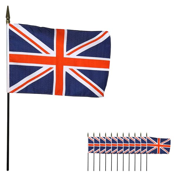Union Jack Hand-Held Cloth Flag 15cm - Pack of 12