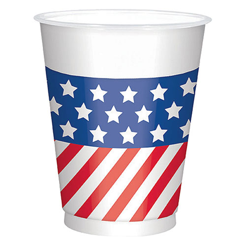 USA Flag Large Plastic Cups 473ml - Pack of 25 Product Image