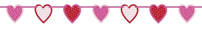 Valentines Hearts Cutouts Cardboard Banner 196cm