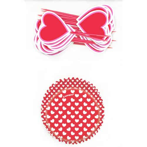 Valentines Hearts Cupcake Kit - Pack of 24