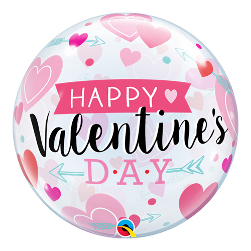 Valentines Arrows And Hearts Bubble Helium Qualatex Balloon 56cm / 22 in Product Image