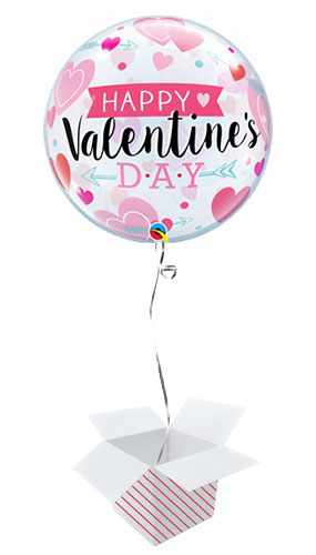 Valentines Arrows And Hearts Bubble Helium Qualatex Balloon - Inflated Balloon in a Box Product Image