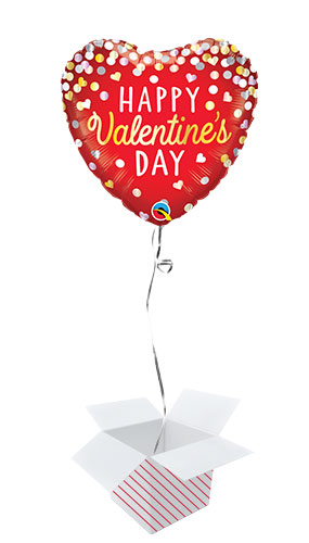 Happy Valentine's Day Confetti Foil Helium Qualatex Balloon - Inflated Balloon in a Box