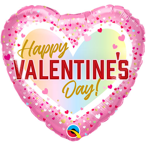 Happy Valentine's Day Ombre Foil Helium Qualatex Balloon 46cm / 18 in