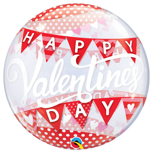 Valentine's Day Banners Bubble Helium Qualatex Balloon 56cm / 22 in Product Image