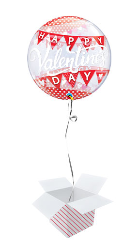 Valentine's Day Banners Bubble Helium Qualatex Balloon - Inflated Balloon in a Box Product Image