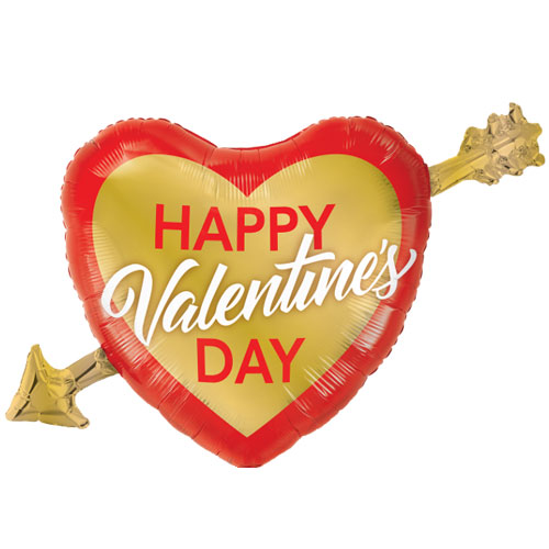 Valentine's Day Golden Arrow Helium Foil Giant Qualatex Balloon 99cm / 39 in Product Image