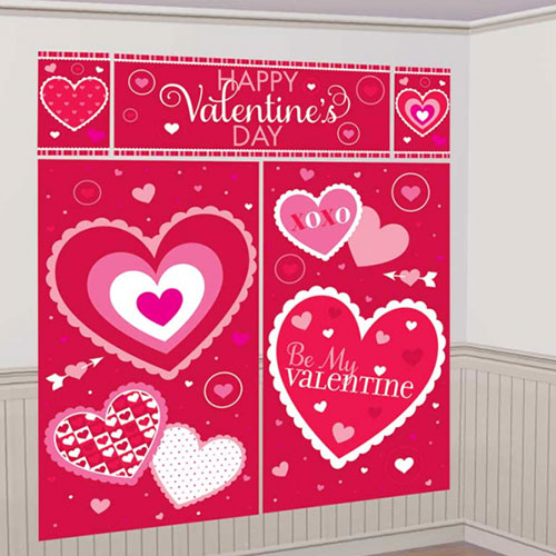 Valentines Day Backdrop Scene Setter Add-On Wall Decorating Kit Product Image