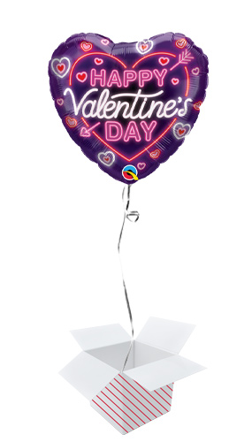 Valentine's Day Neon Glow Heart Shape Qualatex Foil Helium Balloon - Inflated Balloon in a Box Product Image