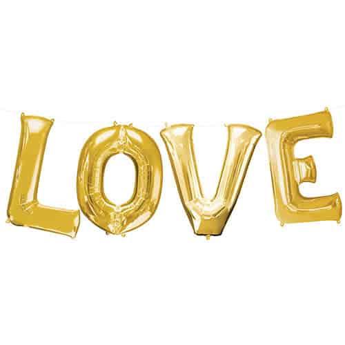 Valentines Gold LOVE Large Foil Helium Balloon Kit
