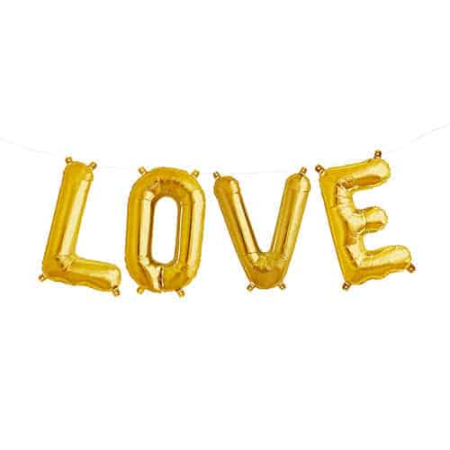 Valentines Gold LOVE Small Air Fill Foil Balloon Kit