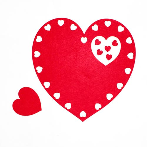 Valentines Heart Shaped Felt Placemat And Coaster Set Product Image