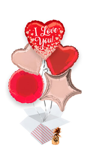 Valentine's Rose Gold Hearts Balloon Bouquet - 5 Inflated Balloons In A Box Product Image