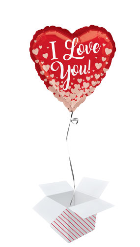 Valentines Rose Gold Hearts Helium Foil Balloon - Inflated Balloon in a Box Product Image
