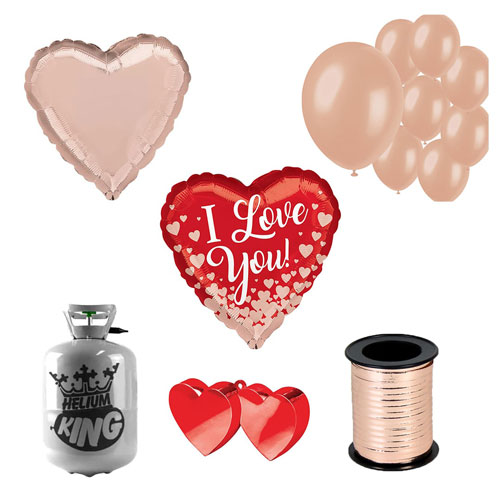 Valentine's Rose Gold Hearts Small Helium Gas Package With Balloons