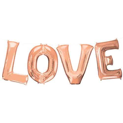 Valentines Rose Gold LOVE Large Foil Helium Balloon Kit