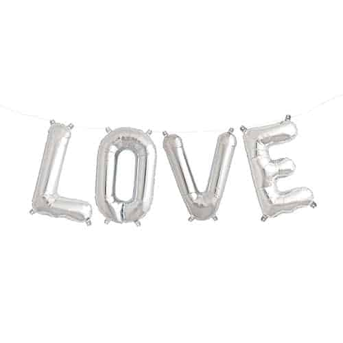 Valentines Silver LOVE Small Air Fill Foil Balloon Kit