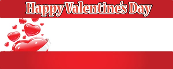 Happy Valentine's Day Design Small Personalised Banner - 4ft x 2ft