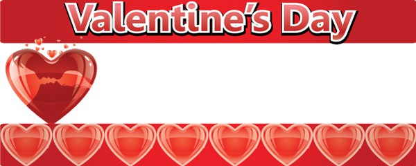 Valentines Day Red Hearts Design Small Personalised Banner- 4ft x 2ft