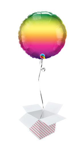 Vibrant Ombre Round Foil Helium Qualatex Balloon - Inflated Balloon in a Box