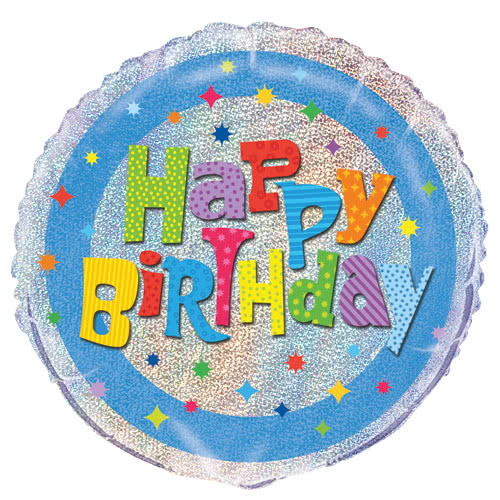 Wacky Birthday Holographic Round Foil Helium Balloon 46cm / 18Inch Product Image