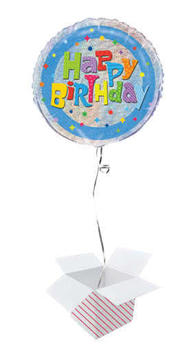 Wacky Birthday Holographic Round Foil Helium Balloon - Inflated Balloon in a Box Product Image