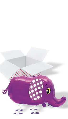 Walking Pet Elephant Foil Helium Balloon - Inflated Balloon in a Box Product Image