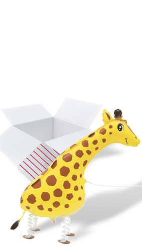 Walking Pet Giraffe Foil Helium Balloon - Inflated Balloon in a Box Product Image
