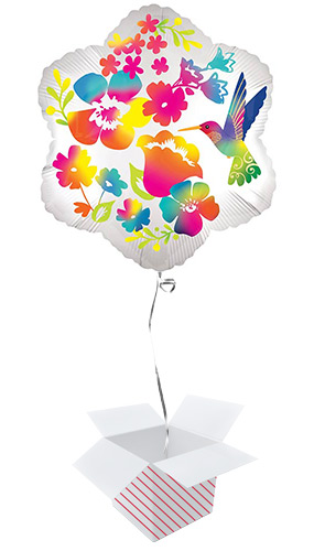 Watercolour Flowers Helium Foil Shaped Balloon - Inflated Balloon in a Box