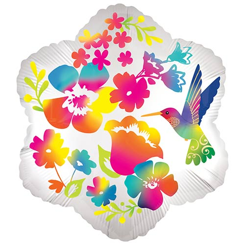 Watercolour Flowers Satin Luxe Helium Foil Shaped Balloon 38cm / 15 in