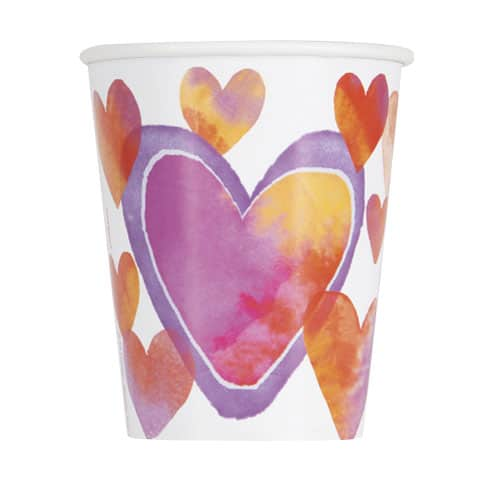 Watercolour Valentine Hearts Paper Cups 270ml - Pack of 8