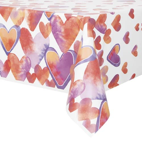 Watercolour Valentine Hearts Plastic Tablecover 213cm x 137cm
