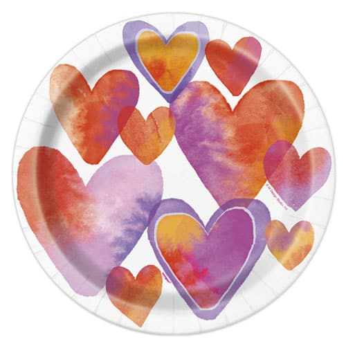 Watercolour Valentine Hearts Round Paper Plates 22cm - Pack of 8
