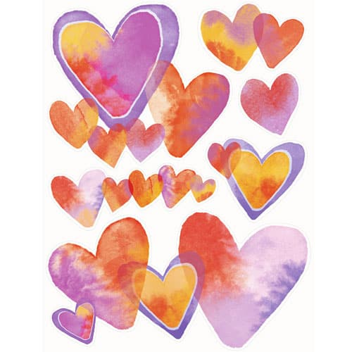 Watercolour Valentine Hearts Window Clings Decoration 43cm Product Image