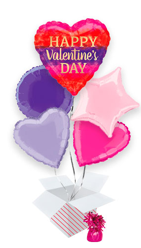 Watercolour Stripes Valentine's Day Balloon Bouquet - 5 Inflated Balloons In A Box