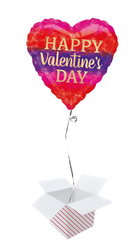 Watercolour Stripes Valentines Day Foil Helium Balloon - Inflated Balloon in a Box