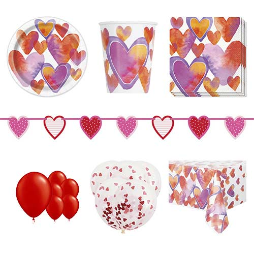 Watercolour Valentine Hearts 16 Person Deluxe Party Pack