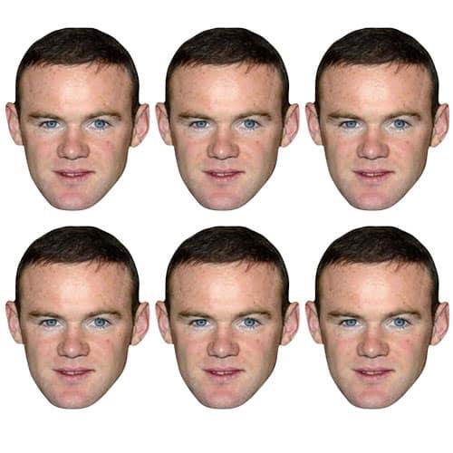 Wayne Rooney Cardboard Face Masks - Pack of 6 Product Image
