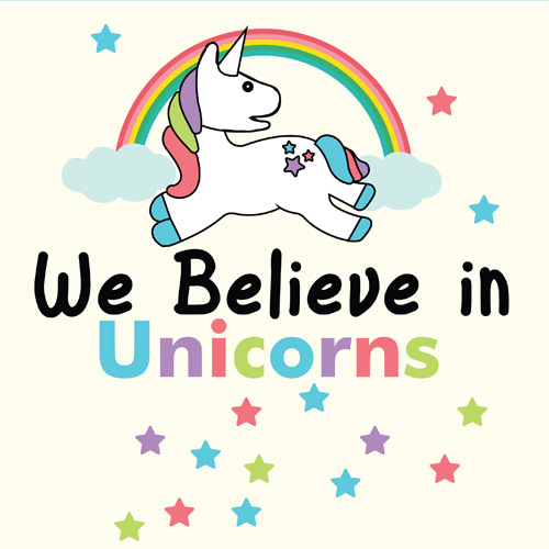 We Believe In Unicorns PVC Party Sign Decoration 20cm x 20cm