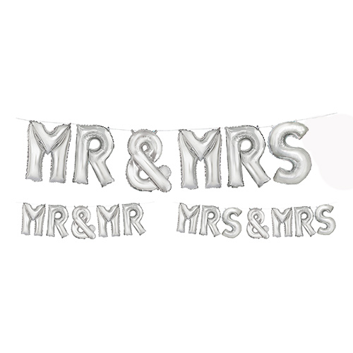 Wedding Air Fill Silver Foil Letter Balloon Kit 35cm Product Image