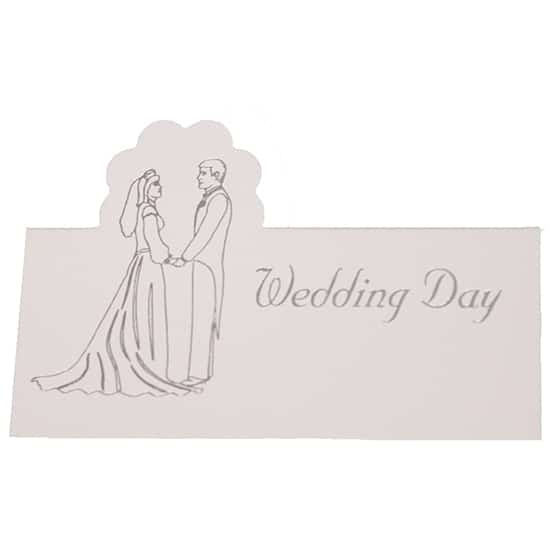 Wedding Day White and Silver Place Cards - Pack of 10