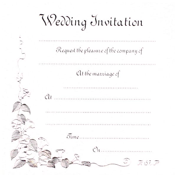 Wedding Invitation Cards with Envelopes - Pack of 10