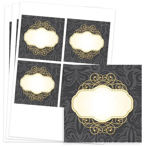 Pattern and Posh Design 95mm Square Sticker sheet of 4