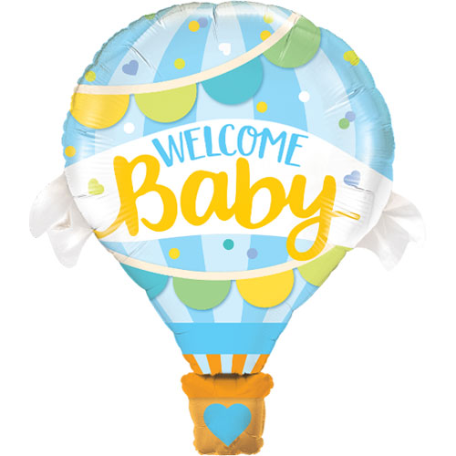 Welcome Baby Blue Baby Shower Helium Foil Giant Qualatex Balloon 107cm / 42 in Product Image