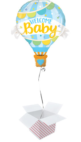 Welcome Baby Blue Baby Shower Helium Foil Giant Qualatex Balloon - Inflated Balloon in a Box Product Image