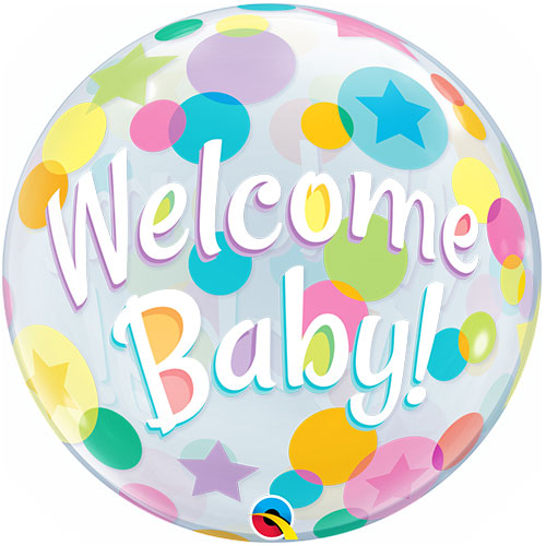 Welcome Baby Colourful Dots Baby Shower Bubble Helium Qualatex Balloon 56cm / 22 in Product Image