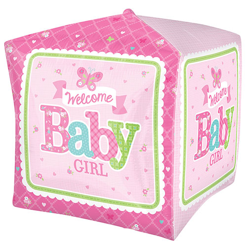 Welcome Baby Girl Cubez Foil Helium Balloon 38cm / 15 in Product Gallery Image