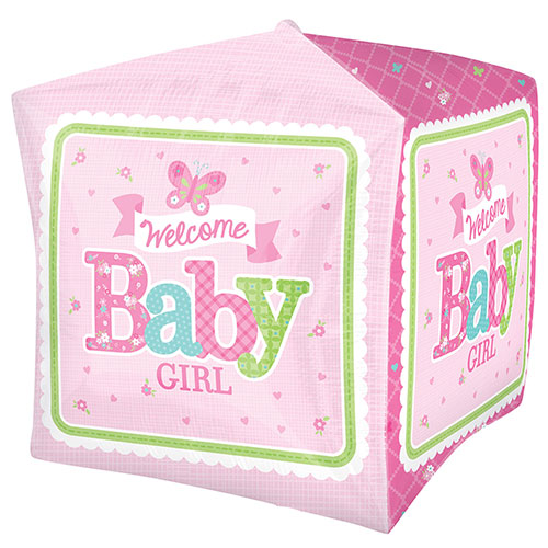 Welcome Baby Girl Cubez Foil Helium Balloon 38cm / 15 in Product Image