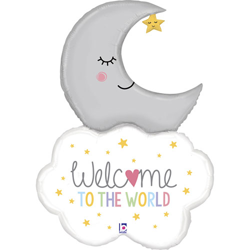 Welcome Baby Moon Helium Foil Giant Balloon 107cm / 42 in Product Image